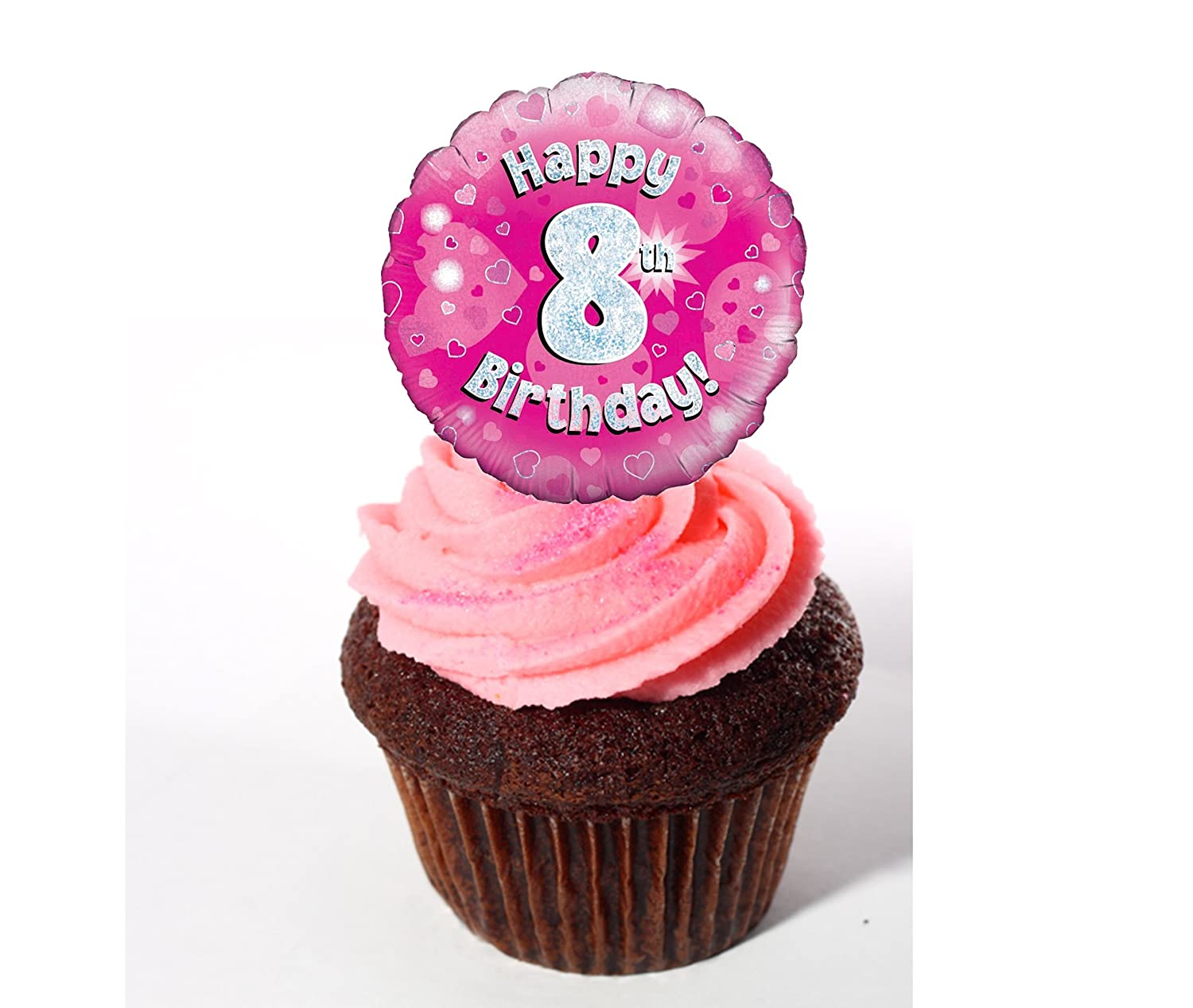 Excellent Happy 8Th Birthday Girl Edible Cake Decorations Pink Stand Up Personalised Birthday Cards Beptaeletsinfo