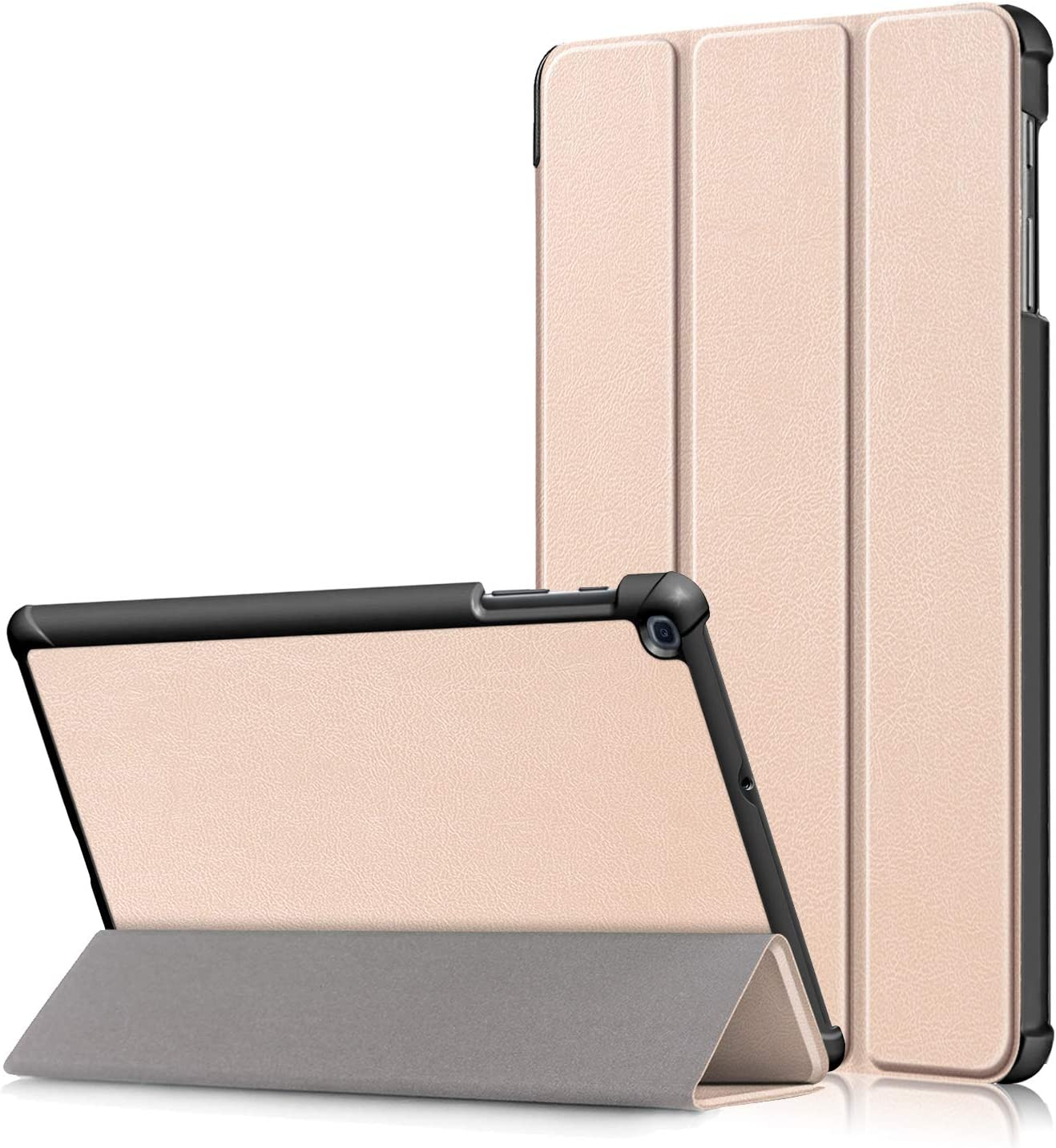 Shinyzone Slim Case for Samsung Galaxy Tab A 10.1 inch 2019 T510//T515,Tri-Fold Stand Smart Case Cover with Auto Sleep//Wake Function,Premium PU Leather TPU Bumper Protective Case,Rose Gold