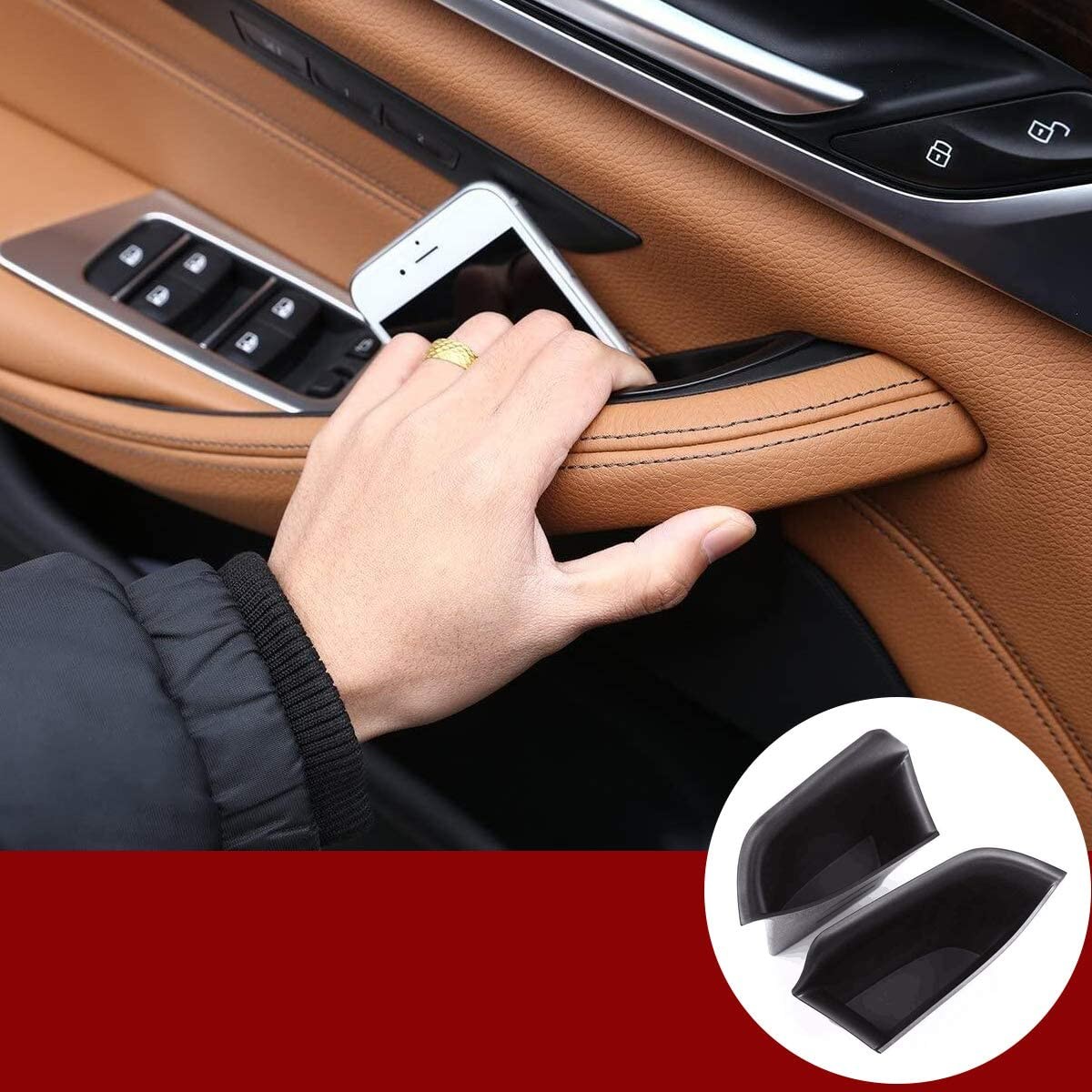 YIWANG ABS Blcak Car Door Storage Box Phone Tray Accessories for BMW 5 Series G30 2018-2020