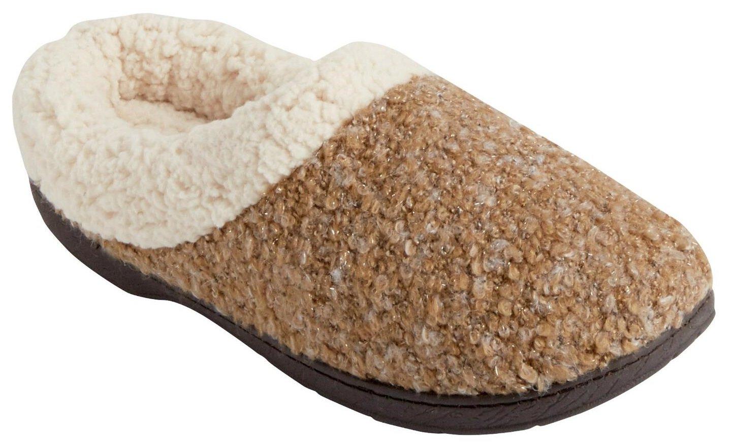 Women's Dearfoams Boucle Clog Memory Foam Slipper (Small / 5-6 B(M) US, Desert)