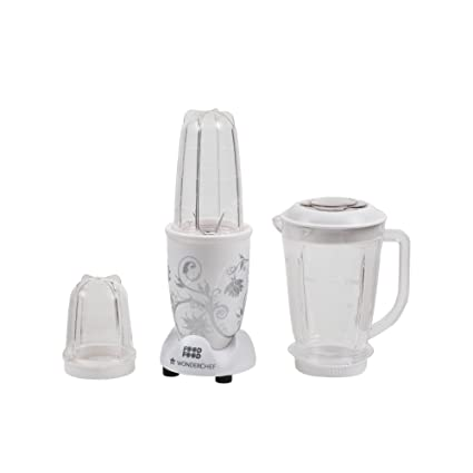 bfc84565f9a Buy Wonderchef Nutri-Blend 400-Watt Mixer Grinder with 3 Jars (White)  Online at Low Prices in India - Amazon.in
