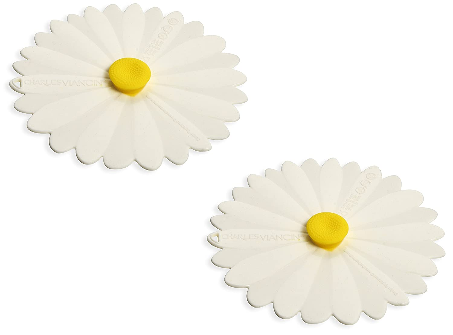 Charles Viancin Airtight Silicone Drink Covers, Set of 2, White Daisy 2510
