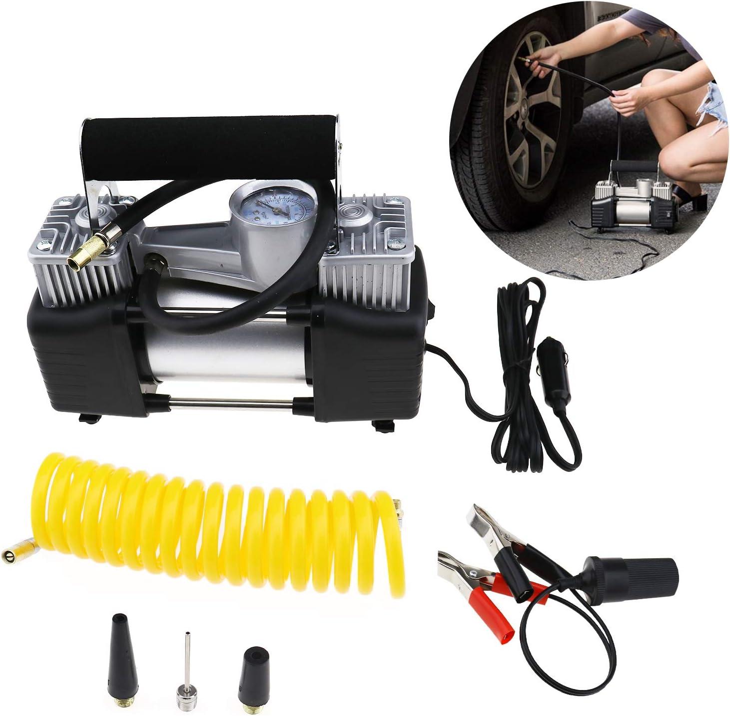 Create Idea Doppelzylinder-Luftkompressor Luftpumpe Auto Reifenf/üller 150 PSI 70 l//min DC 12 V Elektrisches Auto Messger/ät