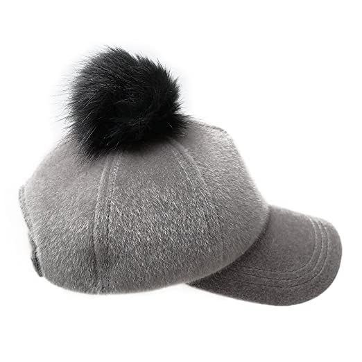 382ede568c6 Lawliet Unisex Faux Fur Pom Pom Cap Baseball Suede Adjustable A410 (Gray)