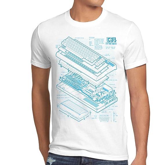 style3 C64 Computadora Cianotipo Camiseta para Hombre T-Shirt Classic Gamer: Amazon.es: Ropa y accesorios