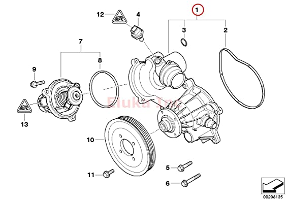 Amazon Com Bmw Water Pump With Gasket And Heater Return Pipe O Ring