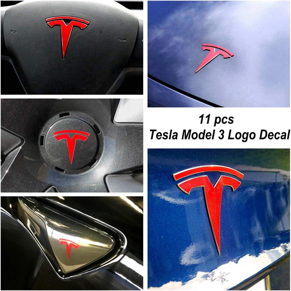 Magicalmai Tesla Model 3 Logo Decal Wrap 11pcs a Set Gloss Red