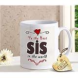 TIED RIBBONS Rakshabandhan Gift for Sister Raksha Bandhan Return Gift Printed Coffee Mug with Happy Raksha Bandhan Printed Wooden Tag