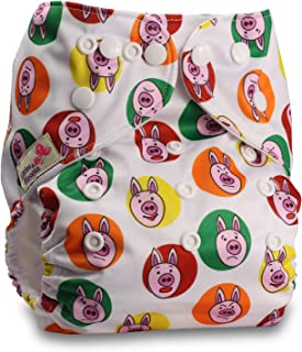 Littles & Bloomz, Reusable Pocket Cloth Nappy, Fastener: Popper, Set of 1, Pattern 31, Without Insert