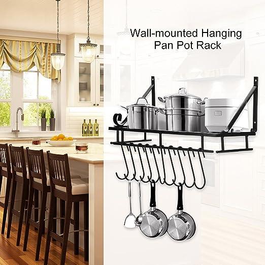 Estante de cocina, soporte de pared para colgar ollas y especias ...