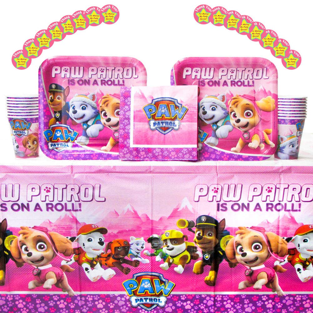 Paw Patrol Girl Party Pack for 16 Guests: Stickers Bundle for 16 Cups Dinner Plates Luncheon Napkins and Tablecover