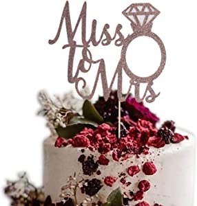 Diamond Ring Proposal Cake Topper - Wedding and Engagement Bachelor Party,Rose Gold Cake Decoration,Bridal Shower Partycake Dessert Props Decor