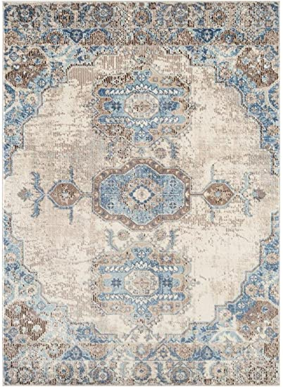 Persian Rugs 7060 Distressed Ivory 5 X 7 Area Rug Carpet Large New Furniture Decor