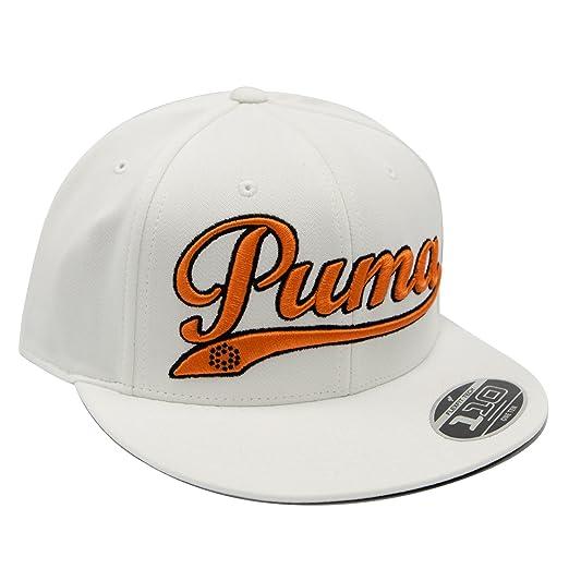 Amazon.com  PUMA Logo Script Cool Cell Snapback Cap - WHITE  Sports ... f8bb40c3132f