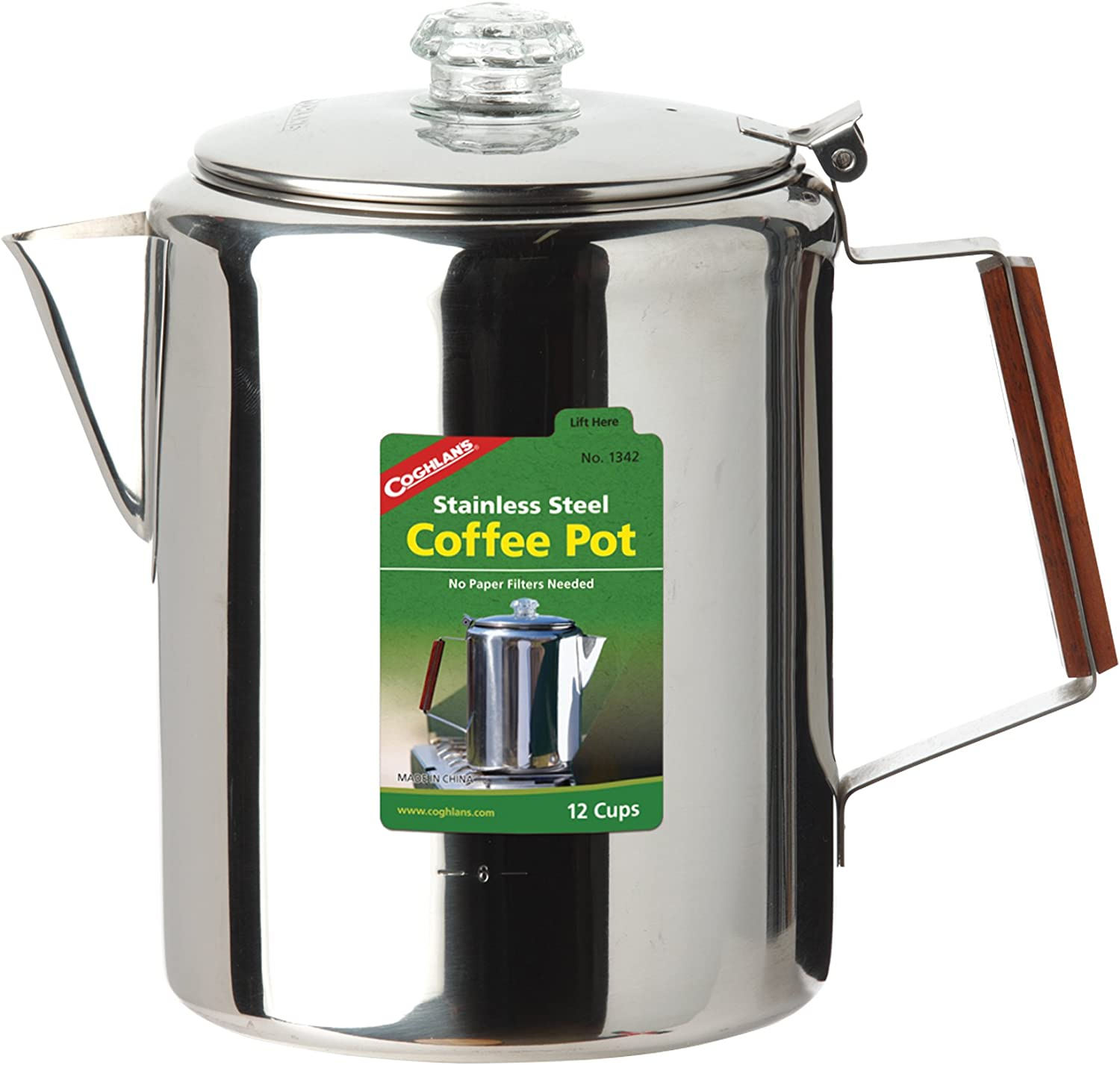 Coghlans 12-Cup Stainless Steel Coffee Pot Silver Coghlans 1342