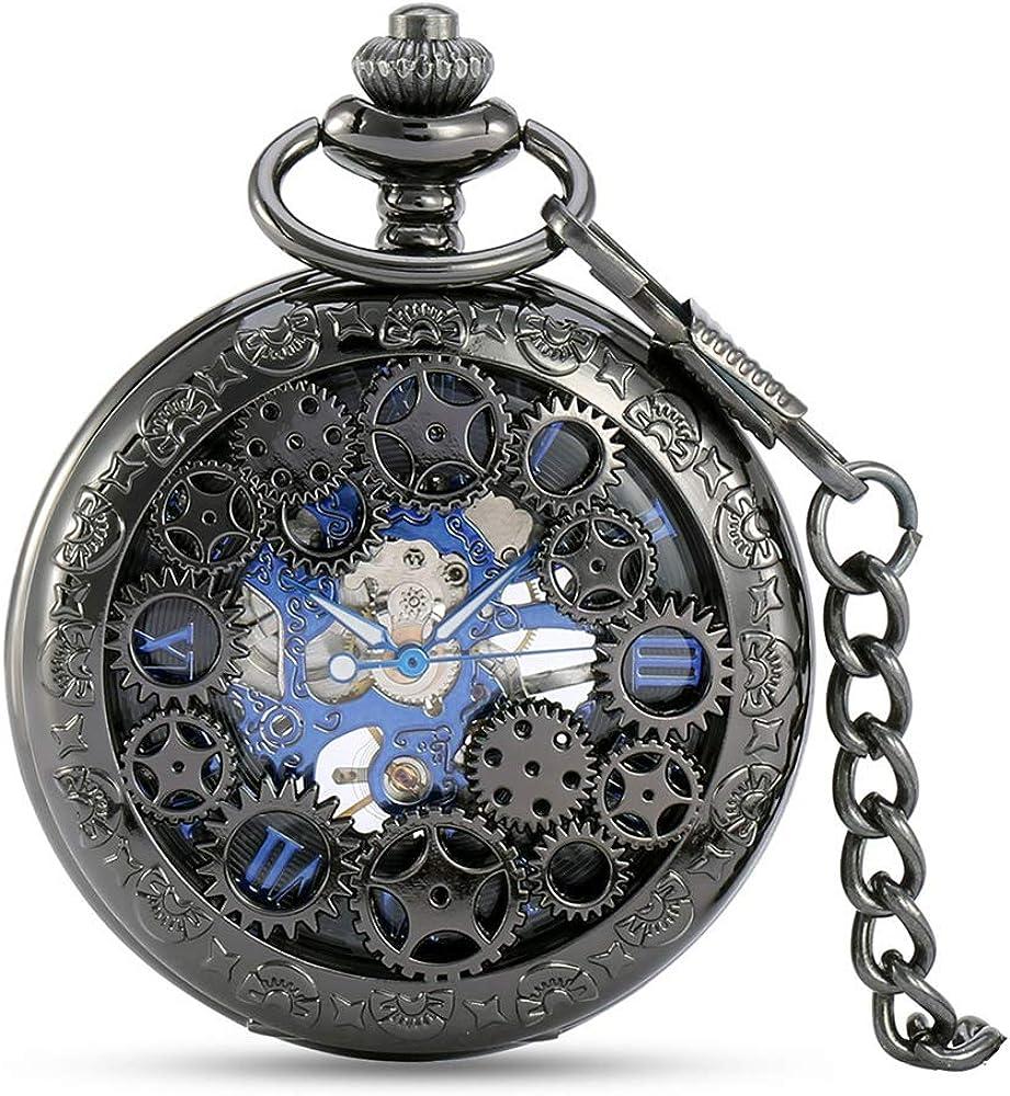 avaner Plateado Envejecido Steampunk Esqueleto número Romano Medio Cazador Caso Mano Viento mecánico Reloj de Bolsillo Collar