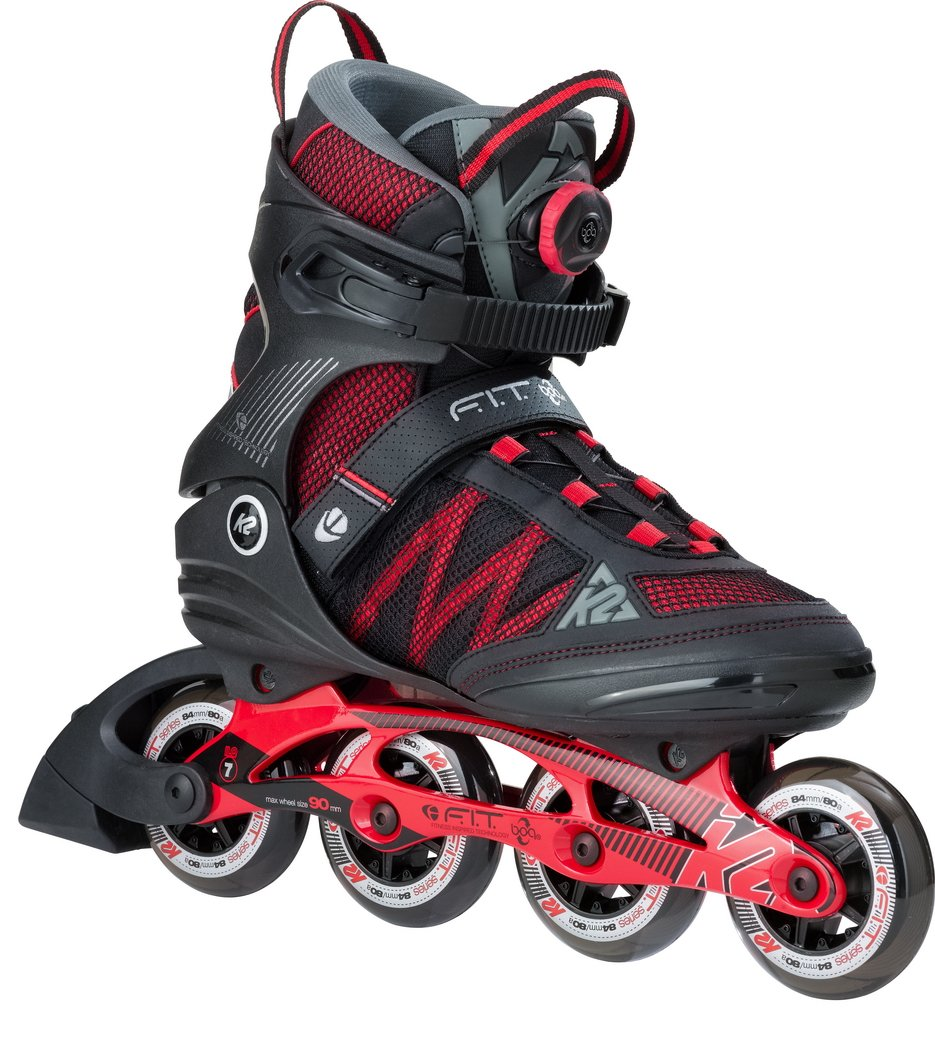 K2 Skate F.I.T. Boa, Black Red, 12 by K2 Skate