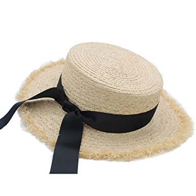 9990df98d0845 Image Unavailable. Image not available for. Color  Womens Summer Adult  Solid Casual Straw Sun Beach Hat Summer Hats for Women Boater Raffia Hat