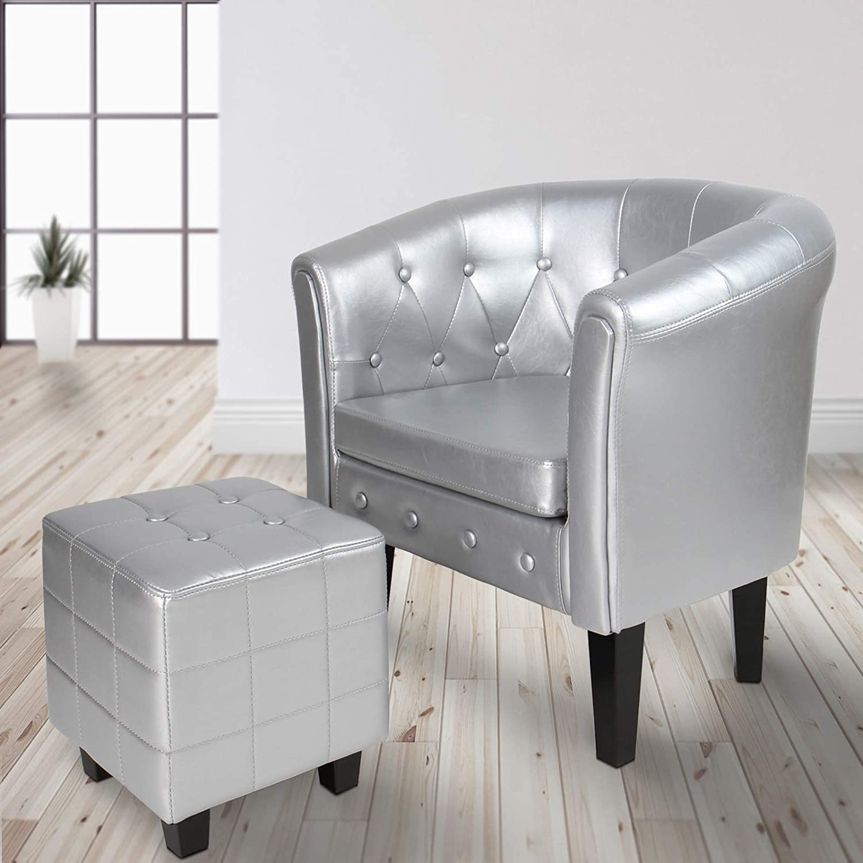 MIADOMODO Chesterfield Sessel und Hocker | aus Kunstleder und Holz, mit Rautenmuster, verfügbar | Lounge Sessel und Sitzhocker Set, Clubsessel, Armsessel, Wohnzimmer Möbel (Silber)