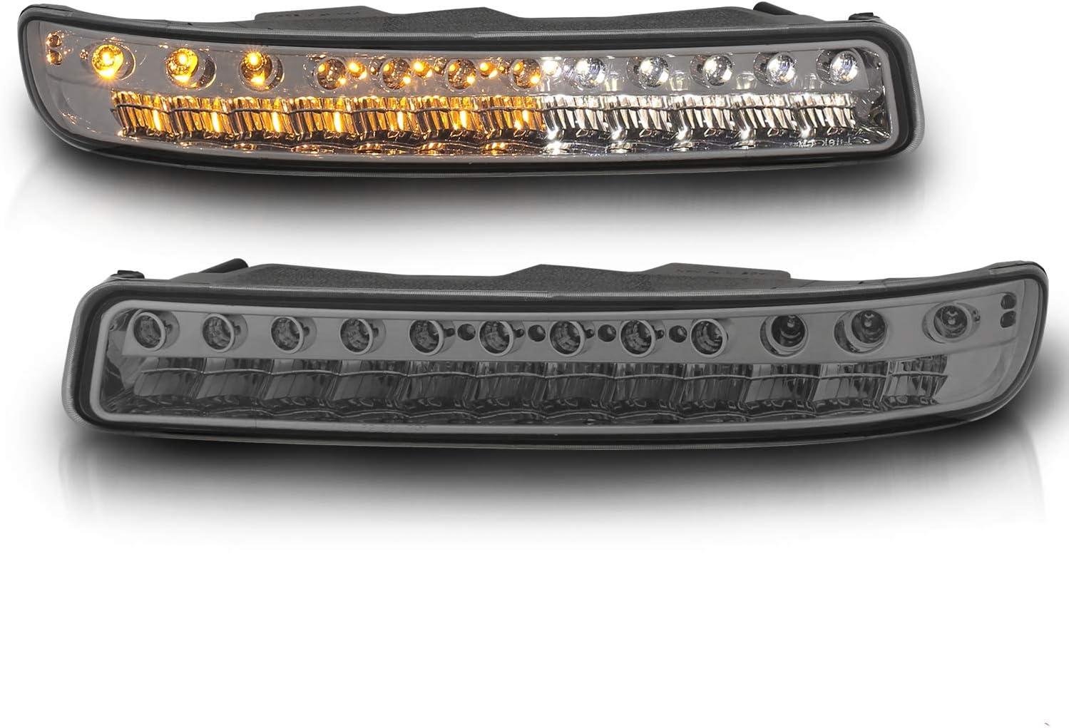 Passenger and Driver Side AmeriLite Smoke LED Parking Turn Signal Lights Replacement Set for G.M.C Sierra//Yukon