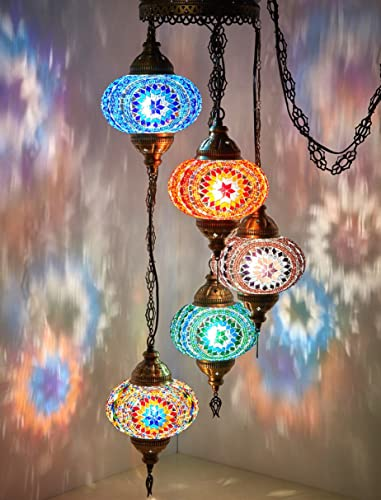 DEMMEX Turkish Moroccan Mosaic Hardwired OR Swag Plug in Chandelier Light Ceiling Hanging Lamp Pendant Fixture, 5 Big Globes 5 X 7 Globes Swag