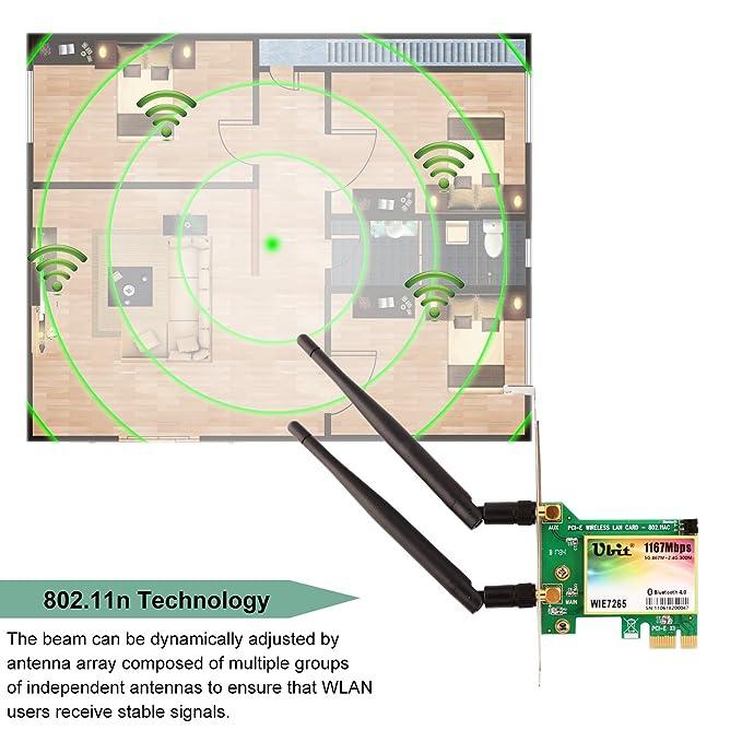 Ubit 802.11 AC1167Mbps Tarjeta de Red inalámbrica WiFi Adaptador Gigabit de Banda Dual con Bluetooth 4.0 (WIE 7265): Amazon.es: Electrónica