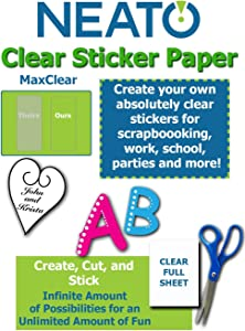 "Printable Transparent Sticker Paper - 8.5"" X 11"" Blank Custom Label Sticker Sheets - 10 Clear Sheets - for Inkjet and Laser Printers - Weatherproof - Tear Resistant- Includes Online Design Software"