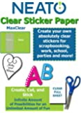 "Printable Transparent Sticker Paper - 8.5"" X 11"" Blank Custom Label Sticker Sheets - 10 Clear Sheets - for Inkjet and…"