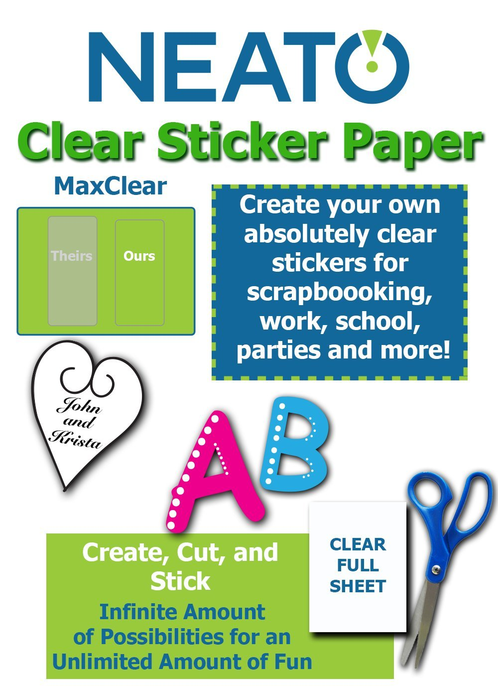 Neato Clear Labels - Transparent Full Sheet Printable Sticker Paper – 10 Totally Clear 8''.5 x 11 Sheets by Neato (Image #1)