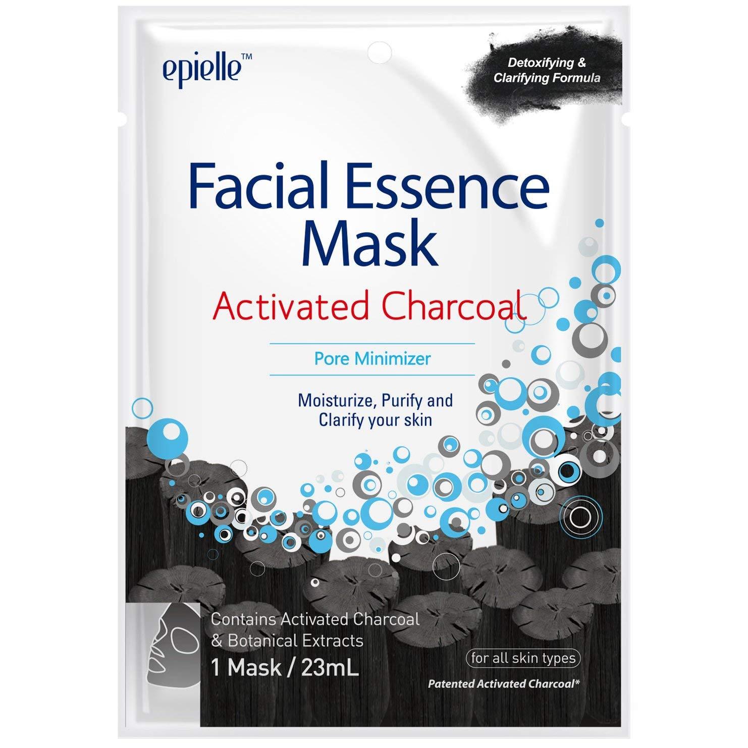 df692d2636 Amazon.com   Epielle Facial Essence Mask Activated Charcoal Pore Minimizer (2  Pack)   Beauty