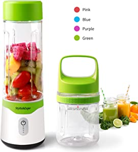 Personal Smoothie Travel Blender, USB Rechargeable Baby Food Blender,Mini Blender for Shakes and Smoothies With 2 Cups (10oZ and 17oZ) for Spring Break Fitness Gym Picnic Gift, No Virus Infection BPA Free (Green)