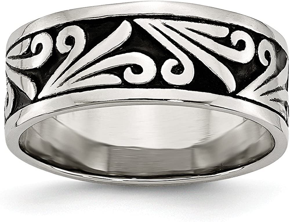 Bridal Wedding Bands Fancy Bands Stainless Steel Fancy Design Antiqued 8mm Ridged Edge Band Size 9