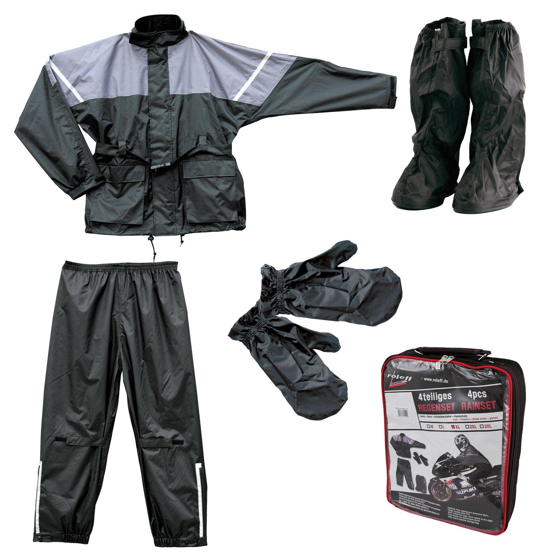 Roleff Racewear Juego de Chaqueta y Pantaló n Impermeables 4 Piezas, Negro/Gris, XL Roleff Motorrad-Mode (EU) 10055