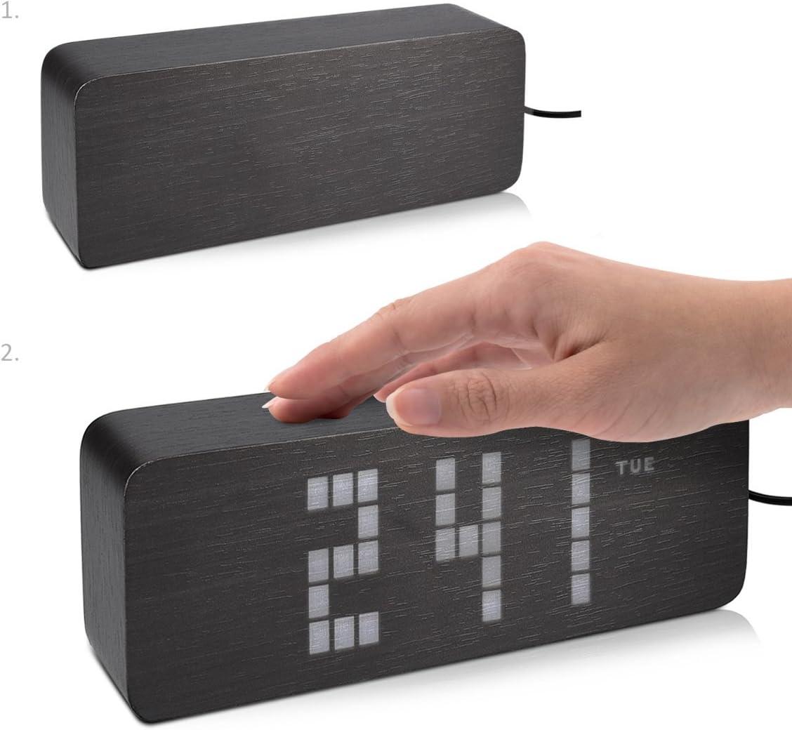 Muestra la Temperatura y el d/ía en Negro con Leds Blancas con 3 alarmas programables con Aspecto de Madera kwmobile Despertador Digital LED