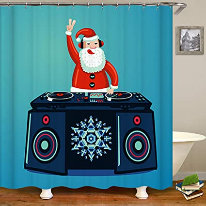 SARA NELL Santa Claus Dj With Vinyl Turntable Christmas Shower CurtainWaterproof Mildew Resistant Polyester