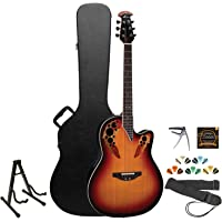 Ovation Elite 2778AX-NEB New England Burst Acoustic-Electric Guitar with Picks, Strings, Strap, Capo, Stand and Hard Case