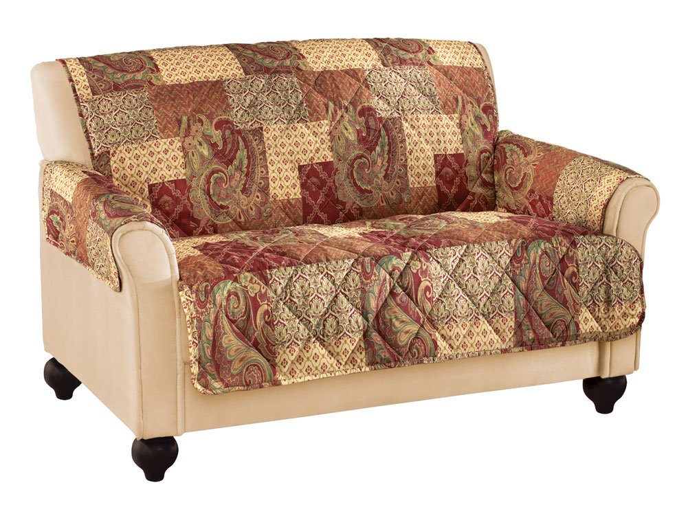 Collections Etc Paisley Floral Patchwork Furniture Protector Cover, Brown, Loveseat