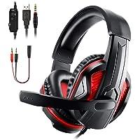Diswoe PS4 audífonos para PC, Auriculares para Juegos de 3,5 mm con Sonido Envolvente estéreo, Auriculares LED para Juegos con micrófono para Ordenador portátil, Mac, teléfono Inteligente, Xbox One S