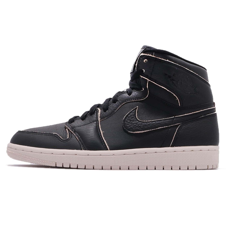 Nike Herren Air Jordan 1 Retro High Premium Black Leder Sneaker  8.5 D(M) US|Schwarz (Black/Dessert Sand)