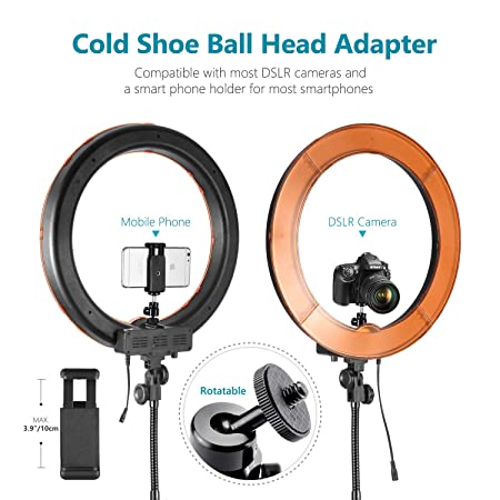 Neewer Ring Light Kit:18'/48cm Outer 55W 5500K Dimmable LED Ring Light