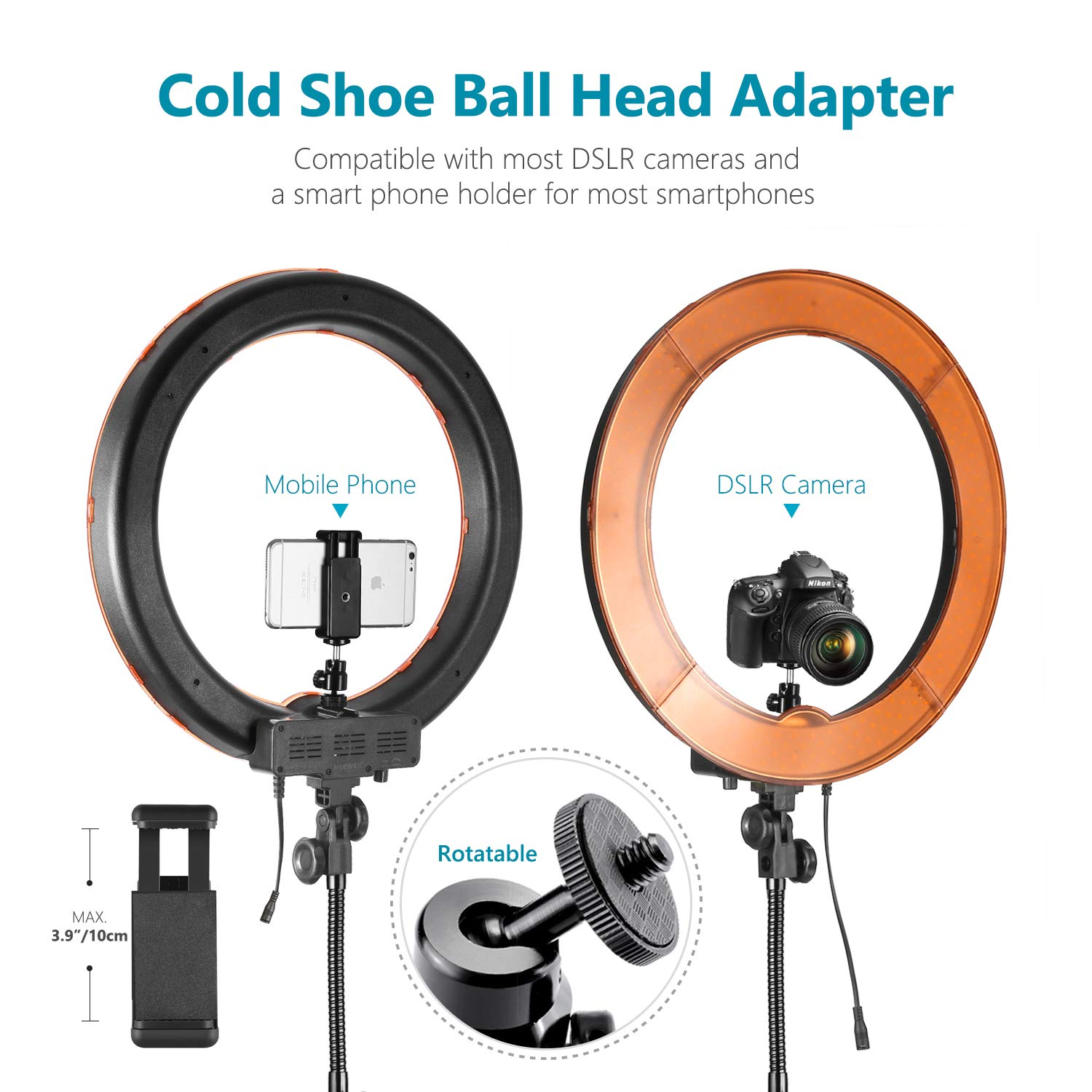 Neewer Desktop and Floor Ring Light Lighting Kit: 18 inches 55W 5500K Dimmable LED Ring Light with Floor Light Stand, Soft Tube, Tabletop Support Stand for Camera, Smartphone Video Make-up Shooting by Neewer (Image #7)