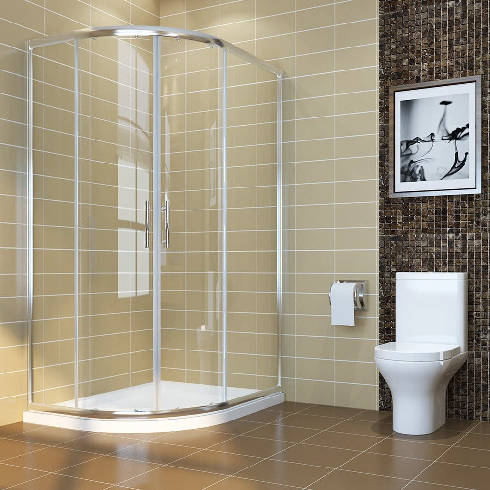 ELEGANT 1200 x 800 mm Offset Quadrant Shower Cubicle 6mm Glass Sliding door Shower Enclosure