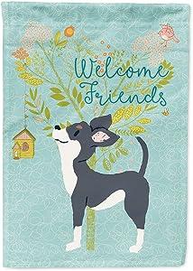Caroline's Treasures BB7627GF Welcome Friends Black White Chihuahua Flag Garden Size, Small, Multicolor