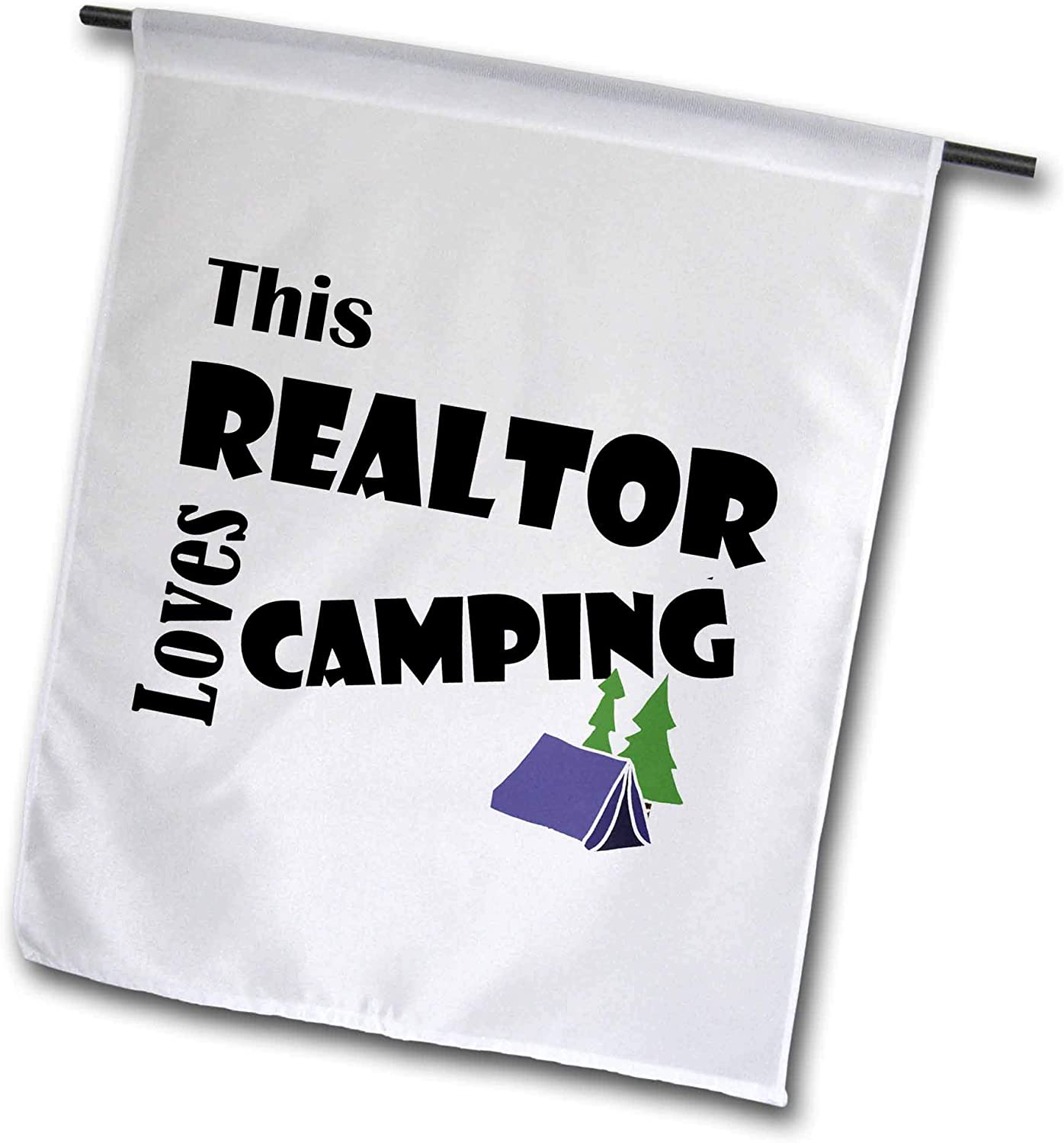 3dRose All Smiles Art - Sports and Hobbies - Cool Funny This Realtor Loves Camping with Tent Art Cartoon - 12 x 18 inch Garden Flag (fl_308379_1)