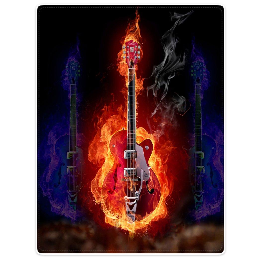 Dick Manta Suave calor gemütlich franela polar de sofá Manta Tapa rojas azules Llama Guitarra eléctrica Alma Guitarra, franela, rojo, ...