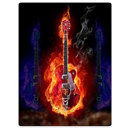Dick Manta Suave calor gemütlich franela polar de sofá Manta Tapa rojas azules Llama Guitarra eléctrica