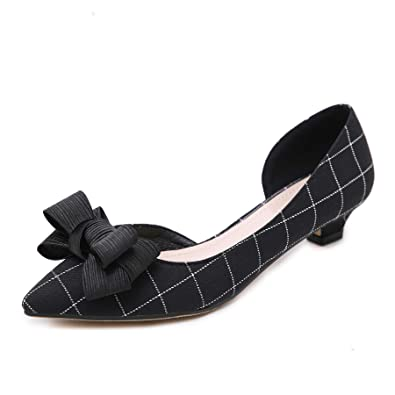 7a64e654a84 Women Classic Pointy Toe Kitten Pumps Slip-on Suede Low Heel D Orsay Shoes