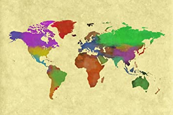 Amazoncom World Map Colorful World Painting Art Print Poster - Colorful world map