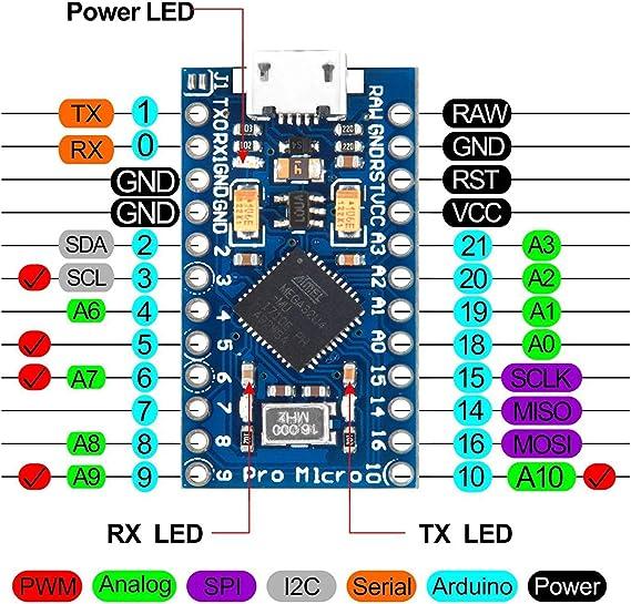 KOOKYE Pro Micro ATmega32U4 5V 16mhz row módulo de tabla de 2 ...