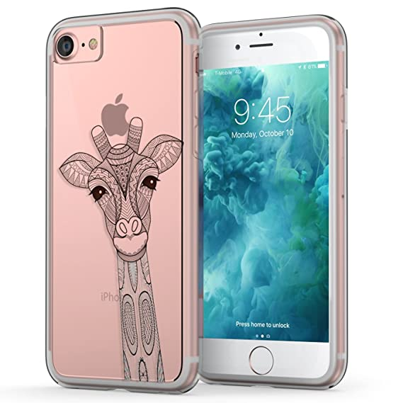 classic fit a96db 1e1f7 True Color Case Compatible with iPhone 7 Case, Giraffe iPhone 8 Case,  Ornamental Giraffe Printed on Clear Cover Hard + Soft Slim Thin Durable ...